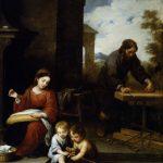 Bartolomé Esteban Murillo, Die heilige Familie mit dem Johannesknaben (zwischen 1655 und 1660) im Hintergrund Josef als Handwerker