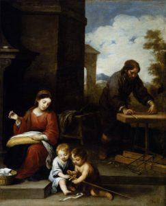 Bartolomé Esteban Murillo, Die heilige Familie mit dem Johannesknaben (zwischen 1655 und 1660): im Hintergrund Josef als Handwerker